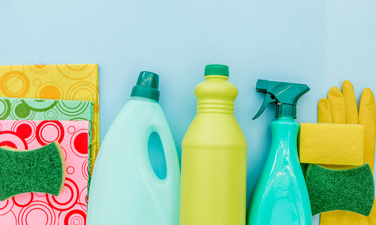 top view collection of cleaning supplies